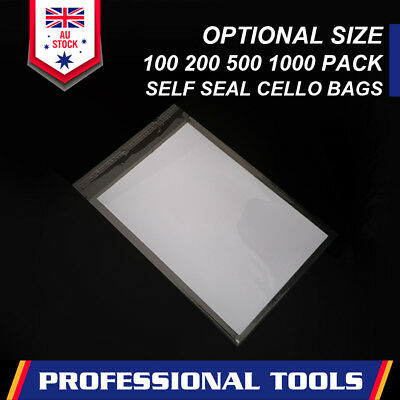 Clear Self Seal Bags Adhesive Cello Cellophane Resealable Plastic Optional Size 3
