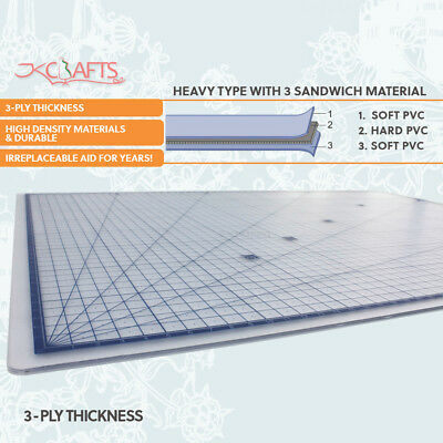Professional Self Healing Clear Cutting Mat 3-Ply Transparent A2 Size 60x 45cm