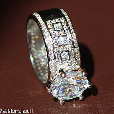 New 925 Silver Filled White Sapphire Birthstone Engagement Wedding Ring 5-11 4