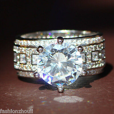 New 925 Silver Filled White Sapphire Birthstone Engagement Wedding Ring 5-11 3