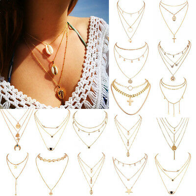 Multilayer Fashion Women Boho Alloy Clavicle Choker Necklace Charm Chain Jewelry 10