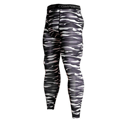 Men/'s Compression Pants Running Basketball Gym Long Tights Wicking Camo Cool Dry