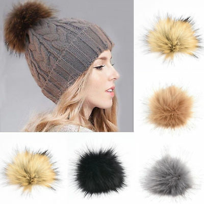 Women Large Faux Raccoon Fur Pom Pom Ball With Press Button For Knitting Hat DIY 5