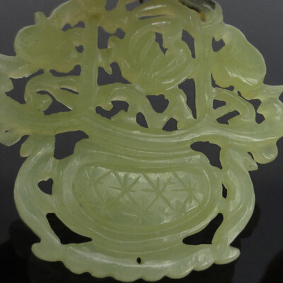 Fine Antique Natural Untreated Translucent Jadeite Jade Carved Flower Pendant 6