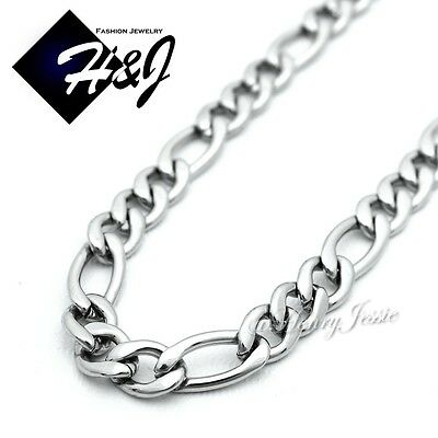 "18-36""MEN Stainless Steel 2/3/4/5mm Silver Figaro Chain Necklace Cross Pendant*P"