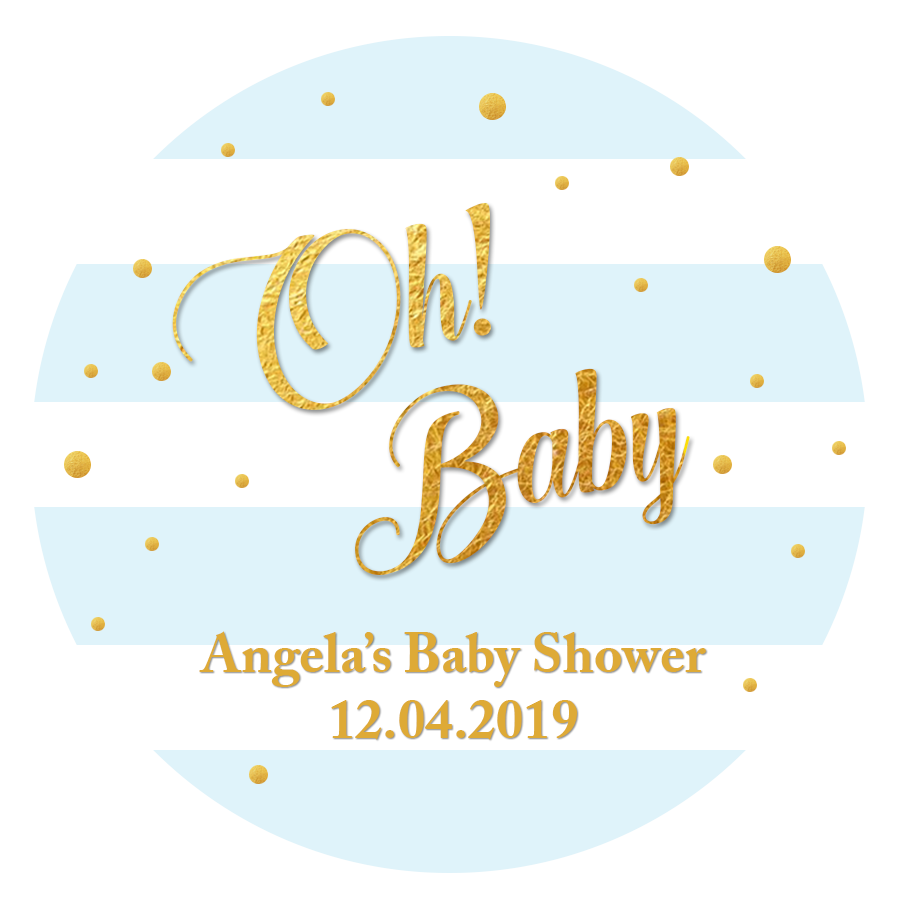 48 x BABY SHOWER PERSONALISED STICKERS LABELS PARTY RECTANGLE FAVOURS BLUE PINK
