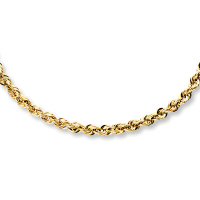 """10K Solid Yellow Gold Necklace Gold Rope Chain 16"""" 18"""" 20"""" 22"""" 24"""" 26"""" 28"""" 30"""" 3"""