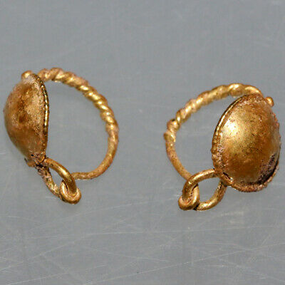 Pair Of Late Roman Early Byzantine Gold Earrings Ca 400-500 Ad 4