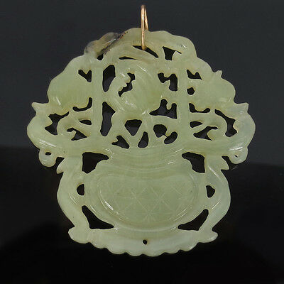 Fine Antique Natural Untreated Translucent Jadeite Jade Carved Flower Pendant 4