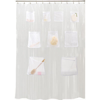 1 Of 4FREE Shipping PEVA Vinyl Shower Curtain Liner With Mesh Pockets