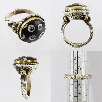 Ancient Lovely Mosaic Gabri Glass (half) Bead Ring 925 Solid Silver #A118 3