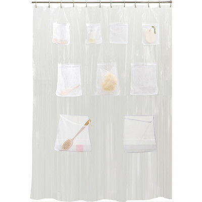1 Of 4FREE Shipping PEVA Vinyl Shower Curtain Liner With Mesh Pockets    Assorted Colors