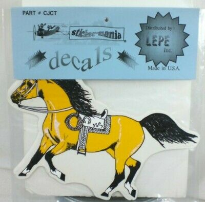 "Horse Stickers With Saddle Cowboy Rope 2 Decal Vinyl  Yellow 9/"" X 12¼/"""