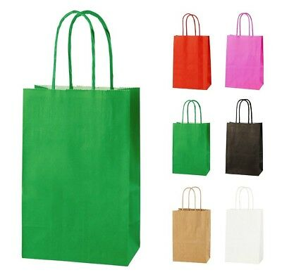 GREEN EXTRA SMALL PAPER PARTY BAGS WITH HANDLES GIFT BAGS  LOOT 14x21x8cm 2