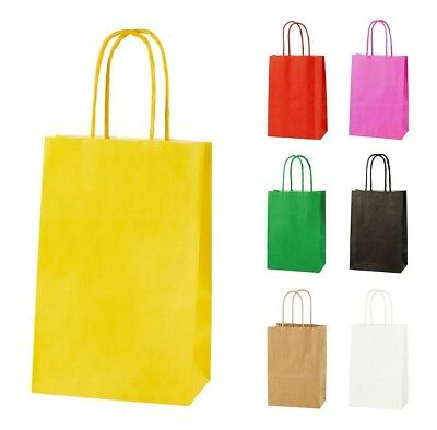 YELLOW EXTRA SMALL PAPER PARTY BAGS WITH HANDLES GIFT BAGS  LOOT 14x21x8cm 2