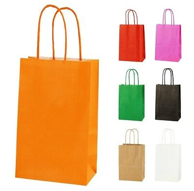 ORANGE EXTRA SMALL PAPER PARTY BAGS WITH HANDLES GIFT BAGS  LOOT 14x21x8cm 2