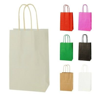 CREAM/IVORY EXTRA SMALL PAPER PARTY BAGS WITH HANDLES GIFT BAGS  LOOT 14x21x8cm 2