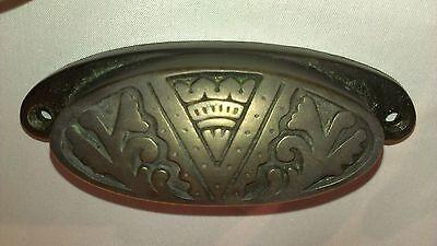 1930's VINTAGE TWO 2 ART DECO BRONZE CABINET DRAWER DRESSER PULLS KNOBS HANDLES 4