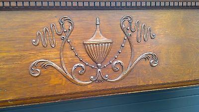 very nice oak mantle beveled mirror columns and carvings 5