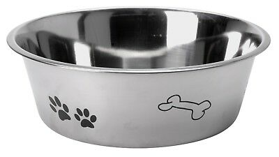 Stainless Steel Dog Pet Feeding Water Bowl Attractive Paw & Bone Design  3 Sizes 2