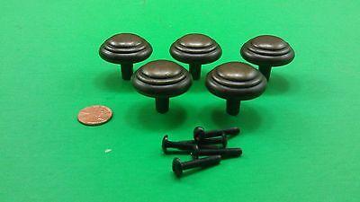 5 Antique Vintage Bronze Round Dresser Drawer Handles/Pulls 2