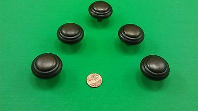5 Antique Vintage Bronze Round Dresser Drawer Handles/Pulls 9