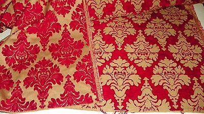 Red Gold Victorian Print Cut Velvet Upholstery Fabric 1 Yard R393