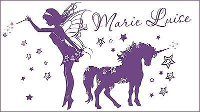 WANDTATTOO Sternchen Elfe mit Namen Zauber Mädchen Märchen Sterne Wandsticker
