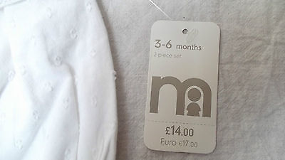BNWT Baby Girls Mothercare White 100% Cotton Summer Top & Shorts set, 3-6m, £14 2