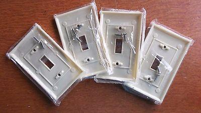Four Vintage Bakelite Single Toggle Switch Plates  - Plain  #45