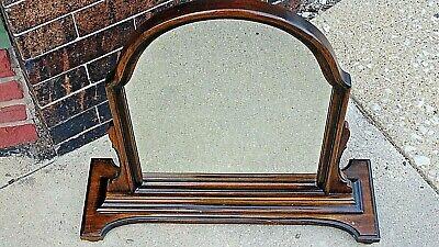 Antique Edwardian Walnut dresser chest pedestal Arched mirror 4