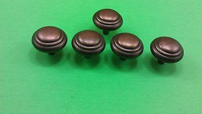 5 Antique Vintage Bronze Round Dresser Drawer Handles/Pulls 8