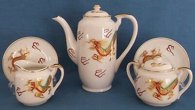 Vintage Japanese Satsuma Dragon Gold Porcelain Coffee Set Lithopane Geisha Girl 3