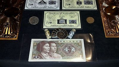 HUGE22Pc.LOT~COINS/FOSSIL/7GOLD.BANKNOTES/U.S&WORLD/3SILVER BARS/CHARM☆et 3