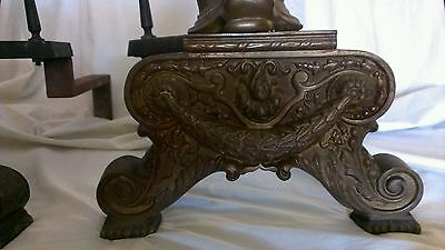 19c French Chenets Bronze Dolphin Sea Serpent Fluted Torch Finial Andirons 6