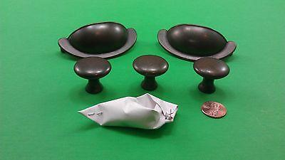 2 Antique Vintage Semisircular & 3 Round Bronze Dresser Drawer Handles 2
