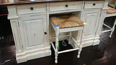 8 Of 11 White Distressed Kitchen Island Counter Drop Leaf Bar Top
