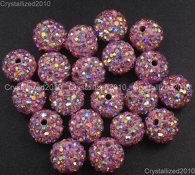 20Pcs Quality Czech Crystal Rhinestones Pave Clay Round Disco Ball Spacer Beads 5