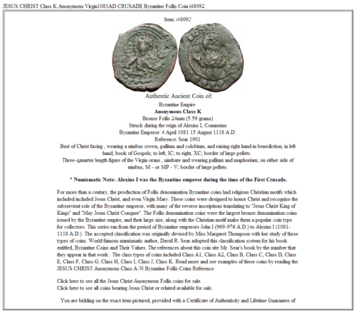 JESUS CHRIST Class K Anonymous Virgin1081AD CRUSADE Byzantine Follis Coin i48092 3