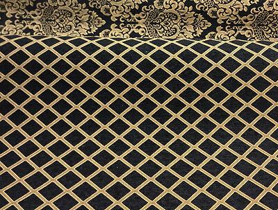 Chenille Damask Print Black Gold Diamond Furniture Upholstery Fabric