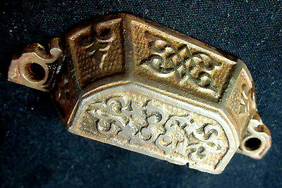 Antique Victorian cast iron window sash lift dresser drawer cup pull handle 3.75 2