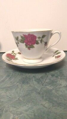 Asian Floral Red Rose Teacup and Saucer 2