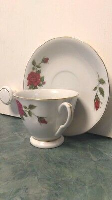 Asian Floral Red Rose Teacup and Saucer 3