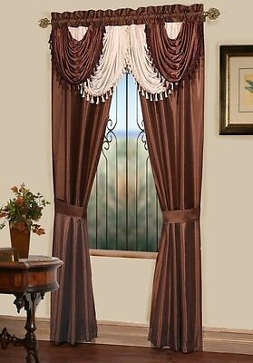 Luxurious AMORE Panel w attached valance 5 pc.window curtain set ...