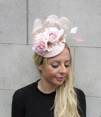 Light Blush Pink Nude Rose Flower Feather Hat Hair Fascinator Races Wedding 6307 3