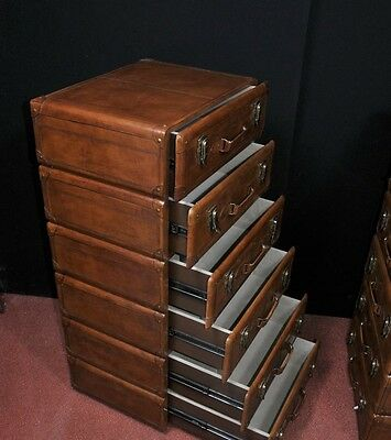 Pair Leather English Campaign Chest Drawers Colonial Tall Boys Luggage 8