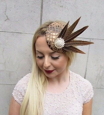 Brown Gold White Pheasant Feather Pillbox Hat Fascinator Hair Clip Races 2610 2