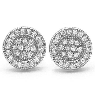 68ca35bc2 ... 925 Sterling Silver Round Circle Flat Screen Stud Screw Back Earrings  8mm Lab Cz 3