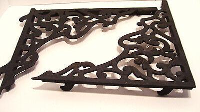 Pair Vintage Steel Shelf Brackets Lock In Type 12 x 14 Inches Victorian Style 10