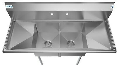 2 Compartment NSF Stainless Steel Commercial Kitchen Prep Sink - 2 Drainboards